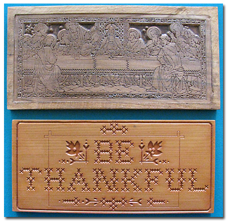 Beyond Carving :: Last Supper (above), Be Thankful (below)